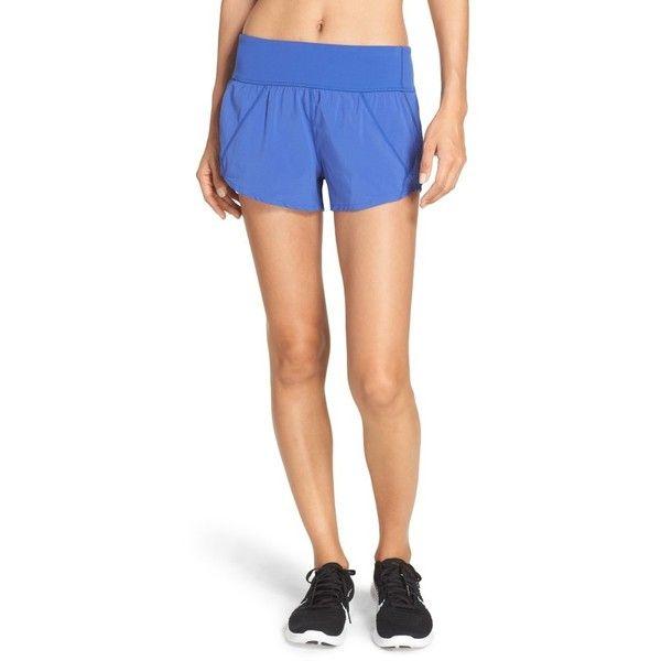 Women's Zella Runaround Compact Shorts ($59) ❤ liked on Polyvore featuring activewear, activewear shorts, blue marine, zella sportswear, zella and zella activewear