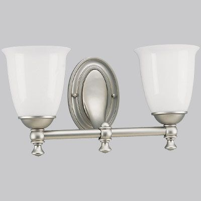"""Photo of Progress Lighting P3028-03 Aged Pewter Victorian 2 Light Bathroom Vanity Light with Opal Glass Shades – 17 """"Wide – Faucet.com"""
