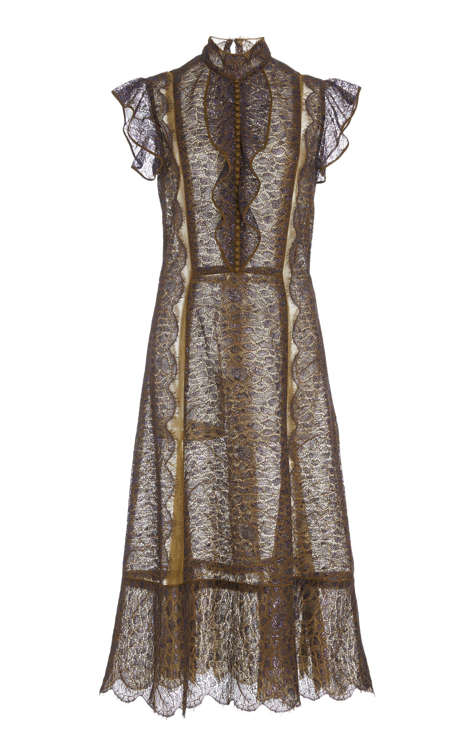 Womens Metallic Lace Cocktail Dress J. Mendel usz6nBToY2