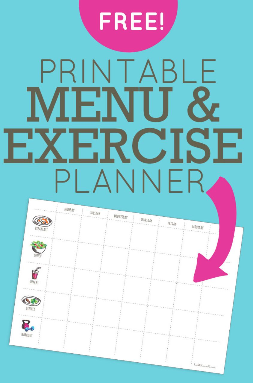 menu exercise planner free printable printables pinterest
