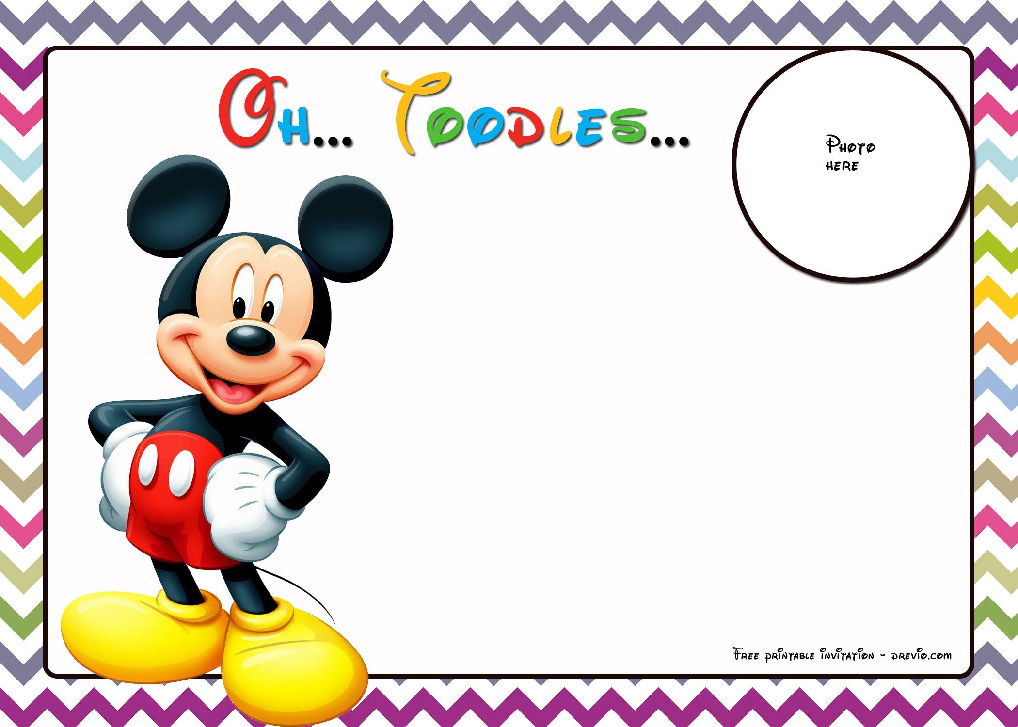 FREE Mickey Mouse Birthday Invitations Template - Chevron Edition ...