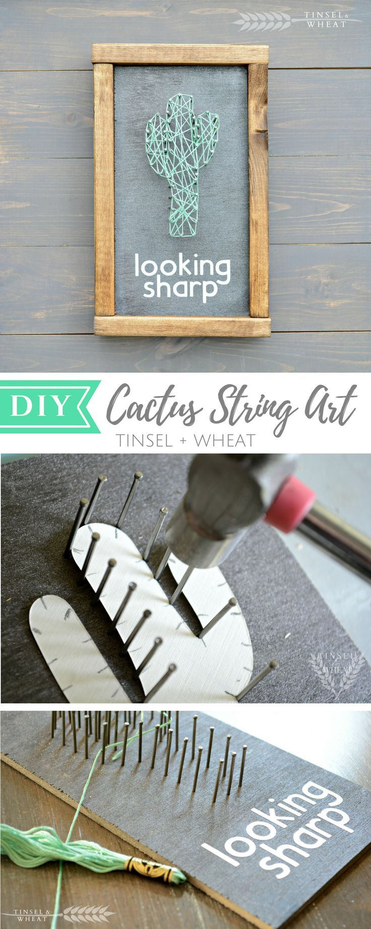 Diy cactus string art tutorial diy pinterest string art diy cactus string art tutorial baditri Image collections