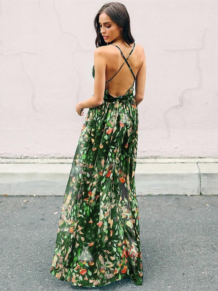 a3b6703a9df43 Tie Back Green Bohemian Sleeveless Floral Deep V Neck Maxi Dress in ...