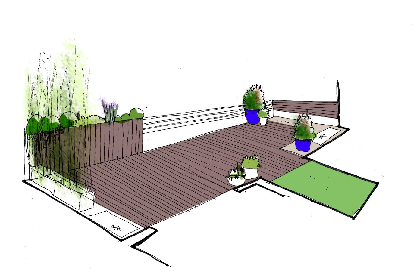 Dise o de jard n en terraza croquis jard n dise o de for Planos de jardines