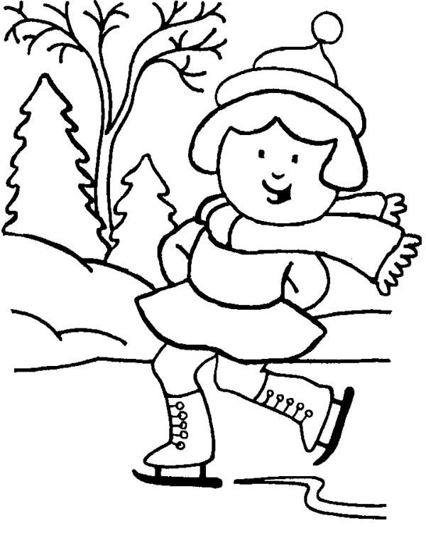 The Girl Playing Sky In Winter Coloring Page | zimni sporty | Pinterest