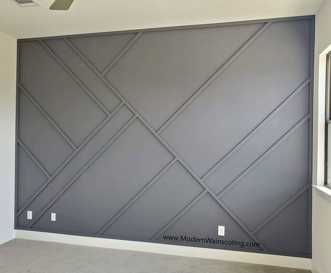 Modern Wainscoting On Instagram New House Build In Plano Paired With Our Beautiful Asymmetrical Des Accent Wall Bedroom Accent Wall Designs Wall Paneling Diy