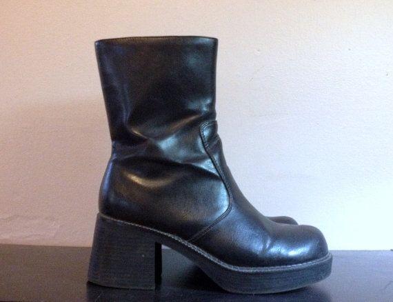 0f3cd0dfc845 Vintage 90s Black PLATFORM Shoes Platform Ankle Boots Chunky Heel ...