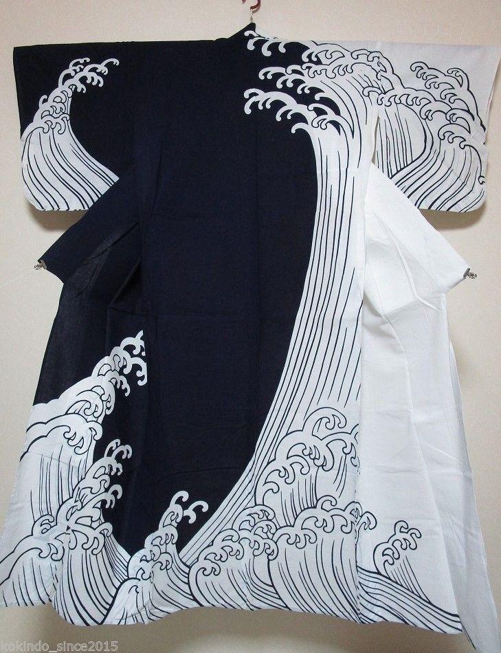 Vintage Yukata Kimono Robe  128 WAVE Pattern Cotton Indigo Fabric Japan  e11722612