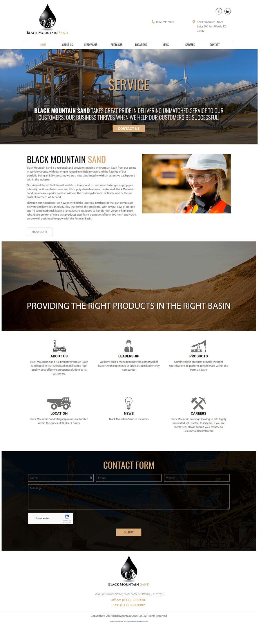 Website Design For Black Mountain Sand In Fort Worth Texas Design Clients Web Design Custom Website Design