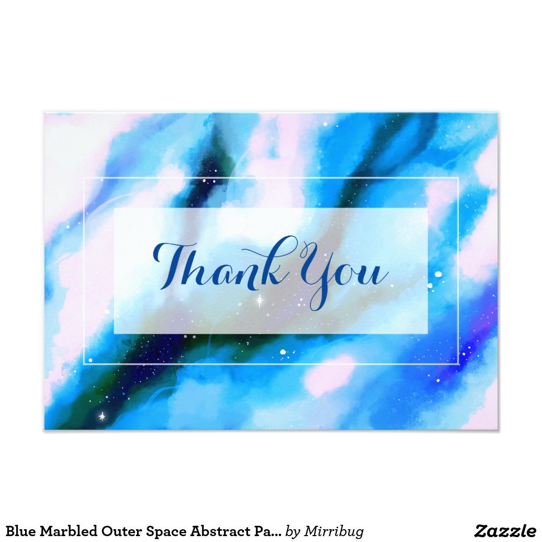 Blue Marbled Outer Space Abstract Party Thank You Card
