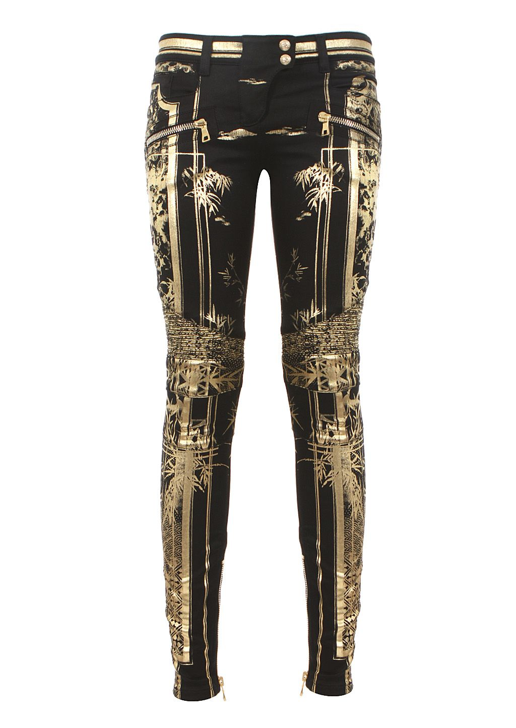1a6236f97a Balmain | Black and Goldtone Printed Biker Jeans | Lyst | Style in ...