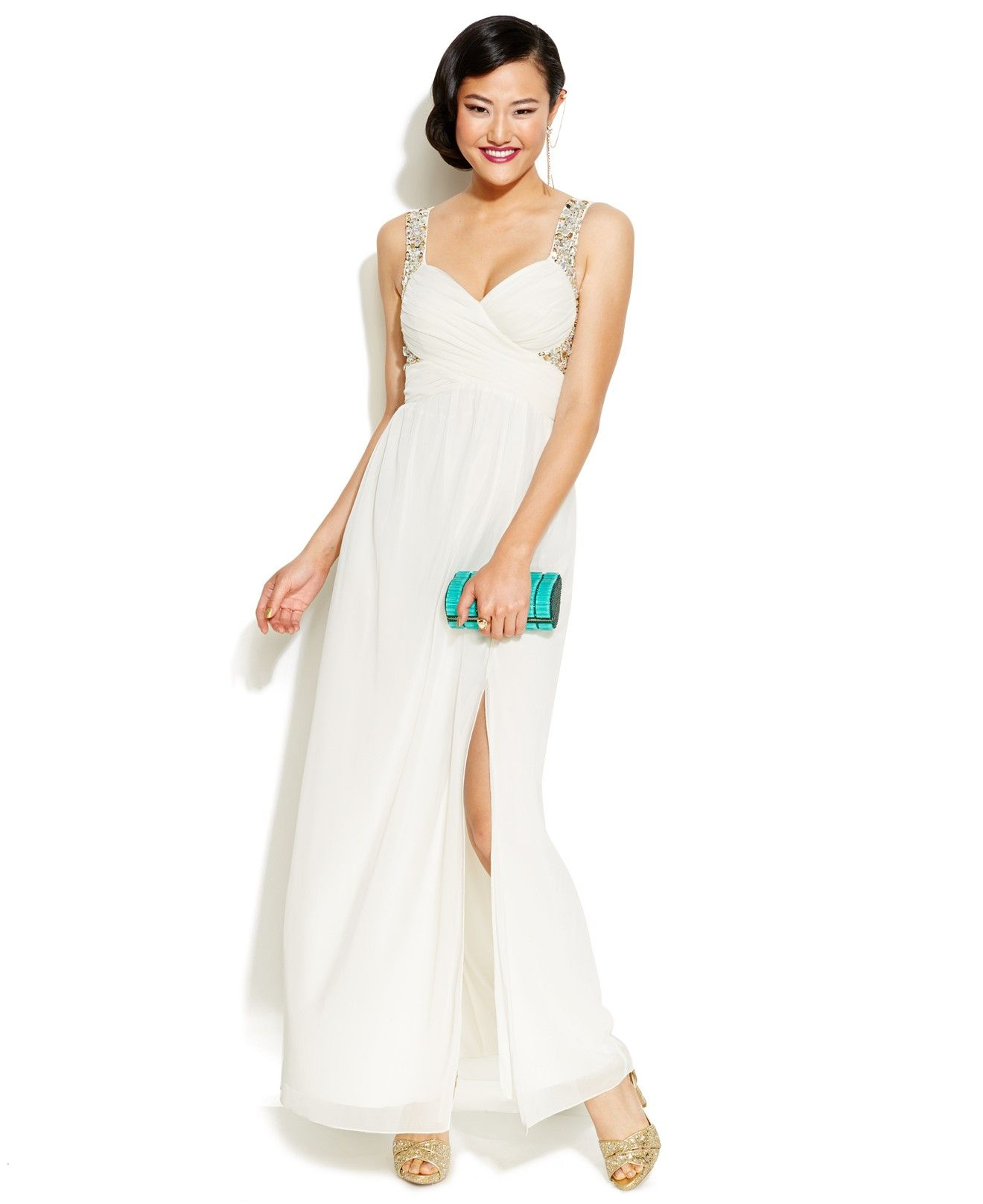 Trixxi Juniors' Beaded High-Slit Gown - Juniors Shop All Prom ...