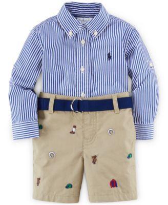 6d2f0dfa7a037 Ralph Lauren Baby Boys  Striped Button-Up Shirt   Embroidered Shorts Set -  Sets - Kids   Baby - Macy s