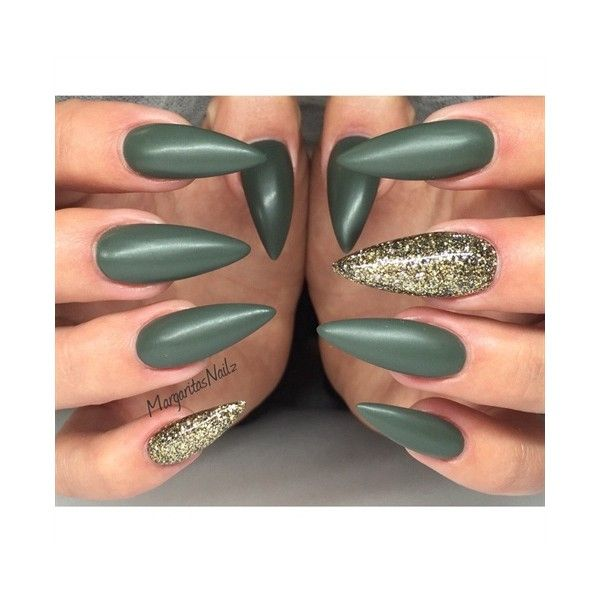 Matte Stiletto Nails Nail Art Gallery ❤ liked on Polyvore featuring ...