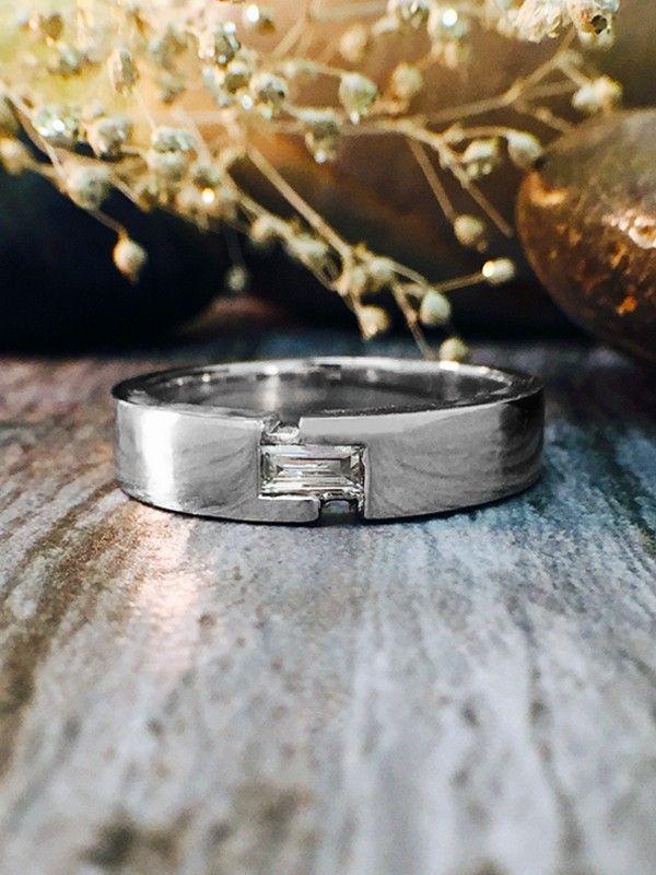 4-4.5MM Baguette Diamond Wedding Band Solid 14K White Gold (14KW) Mens Ring