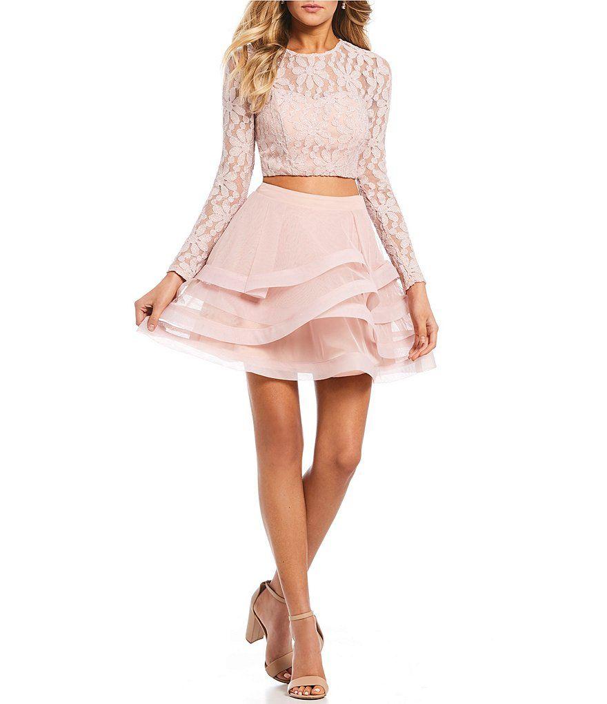 8419d3654c3 Xtraordinary Long Sleeve Glitter Lace Horsehair Two-Piece Dress ...