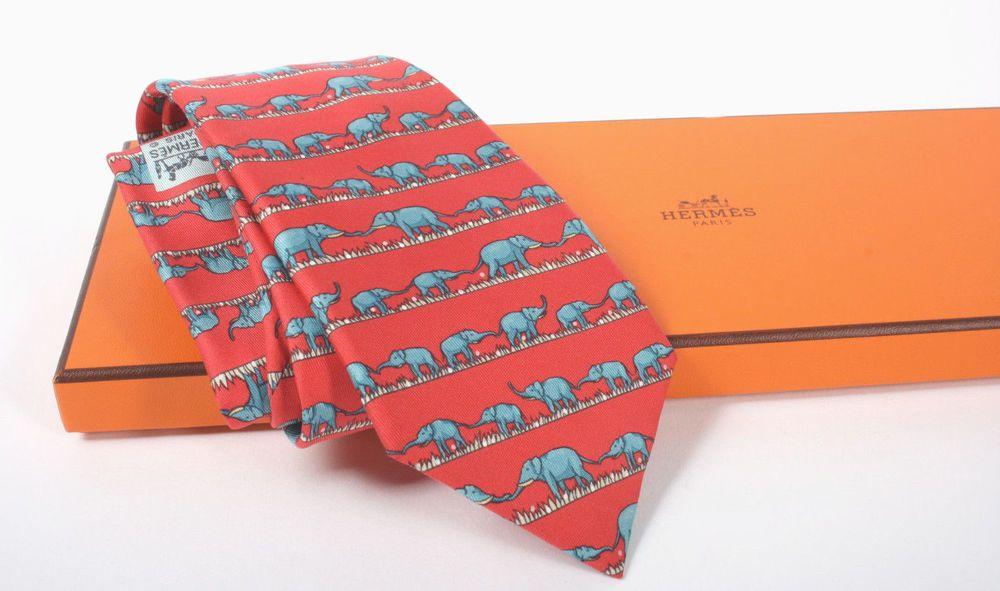 ec6a1125a7 Authentic HERMES Twill Silk Tie Elephant Family Trunks Red 7621 TA New with  Box