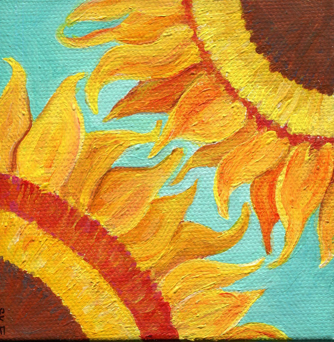 Sunflower mini canvas art painting, sunflower canvas art, sunflower ...