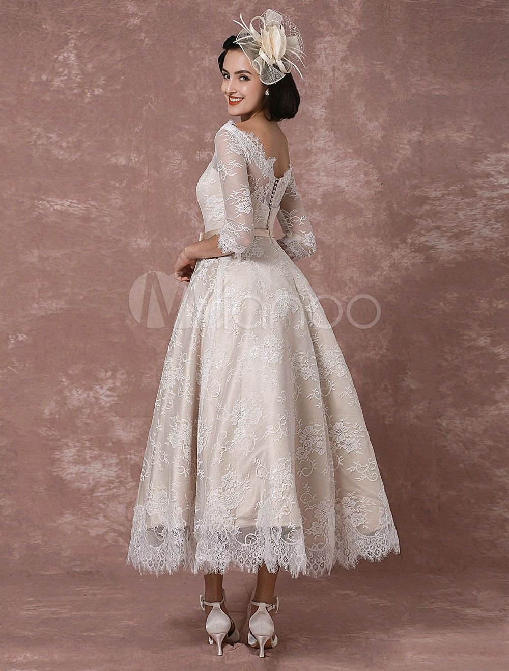 Lace Wedding Dress Vintage Bateau Champagne Half Sleeves Bridal Gown ...