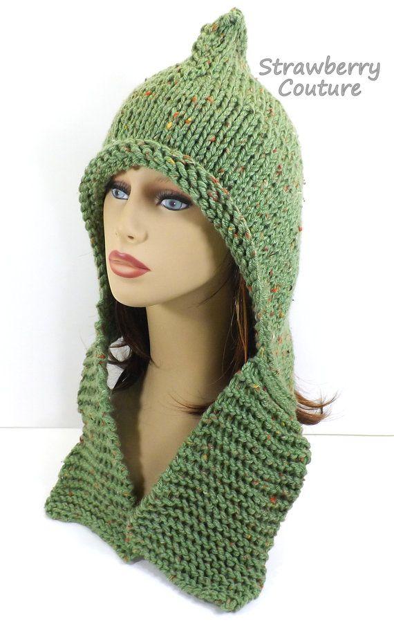 Knitting Pattern Hat Knitted Hat Knit Hood Pattern Pixie Hat Pattern