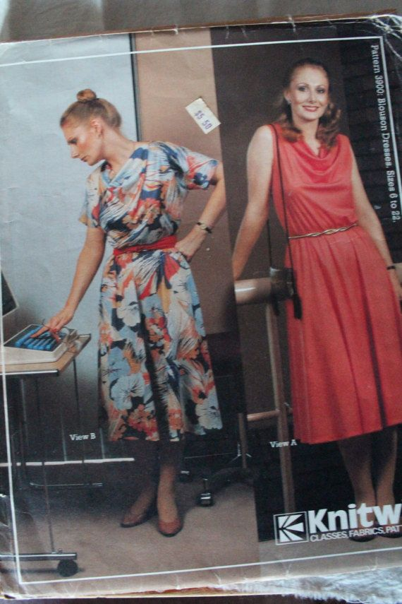 Vintage Knitwit 1980s Sewing Pattern 3900 Blouson Dresses Sizes 6 to ...