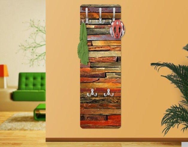 Wandgarderobe Garderobe Wandpaneel braun Flurgarderobe Haken Hakenleiste Holz