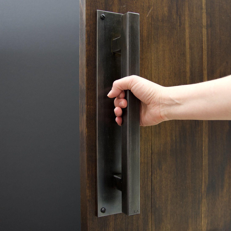 Door Handle Heavy Duty Steel Number 6 Oxide Blackened Hand Manijas Para Muebles Puertas De Acero Casa Industrial