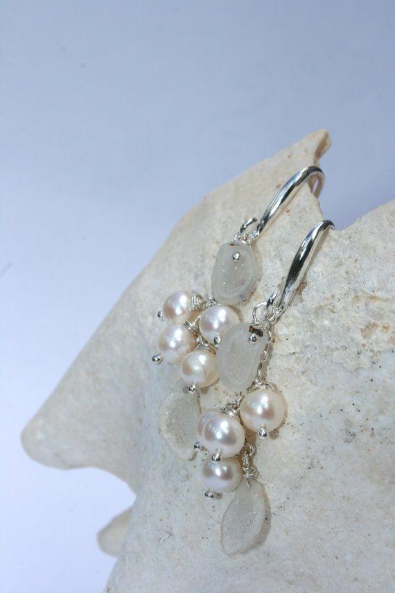 Tiny White Geode & Pearl Earrings by getawaygirl on Etsy, $128.00