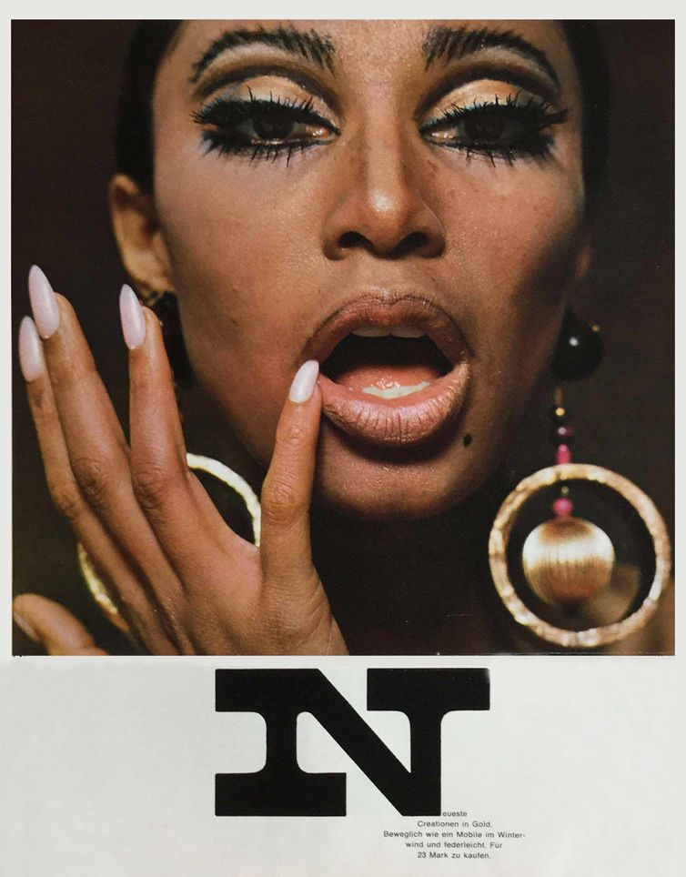 Charlotte March, jewelry editorial with Donyale Luna for Twen magazine, 1966. AD: Willy Fleckhaus, Germany.