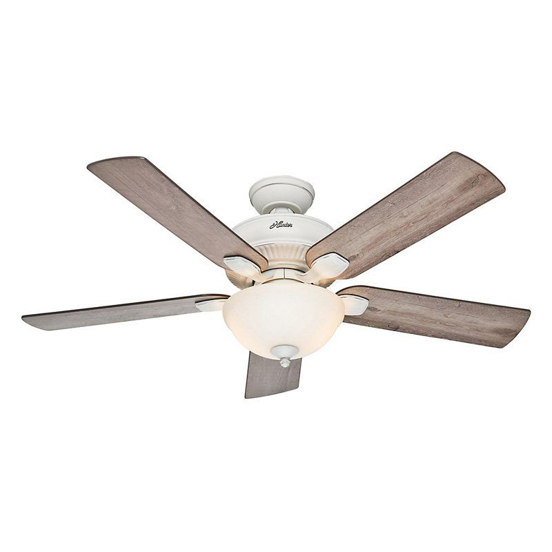 Hunter 54091 Matheston 52 Inch Cottage White Ceiling Fan With 5 Grey Pine Blades Contemporary Fans Designer Lighting And