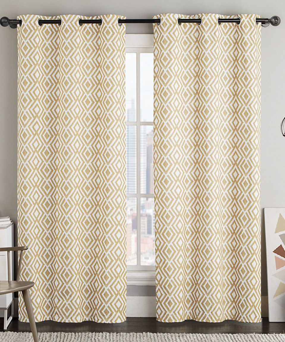 This Gold Justin Geometric Curtain Panel Set Of Two By Victoria
