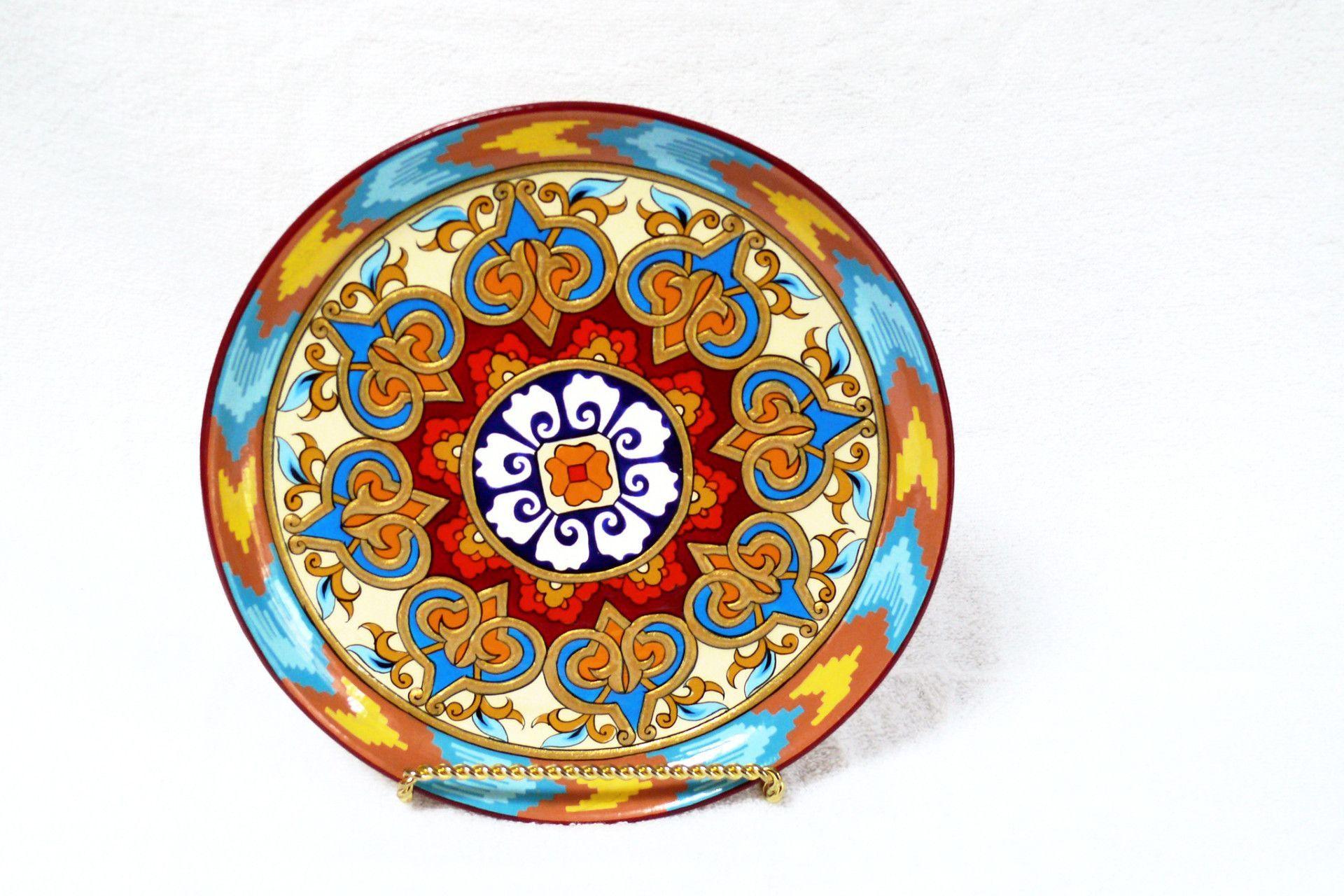 Large Decorative Ceramic Plates Kundal Painting Round Ceramic Plate Decorative Fair Trade