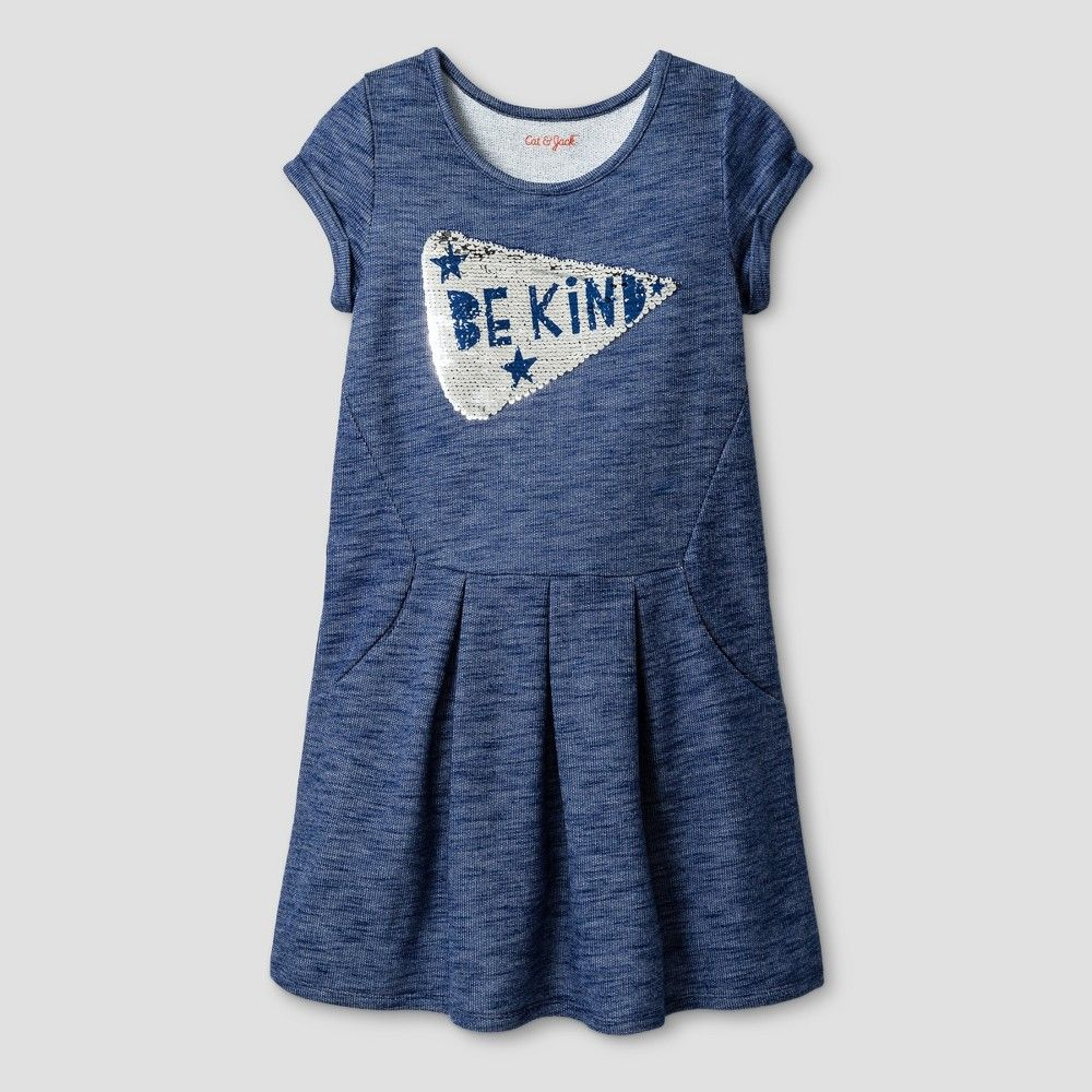 Girls' Pizza Reverse Sequence Dress Cat & Jack Navy M, Blue