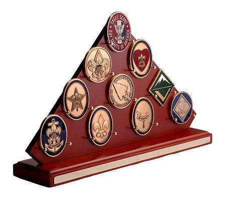 Triangular Wood Scouting Coin Display Rack. Show off your progress in Scouting! Mil-Mall.com