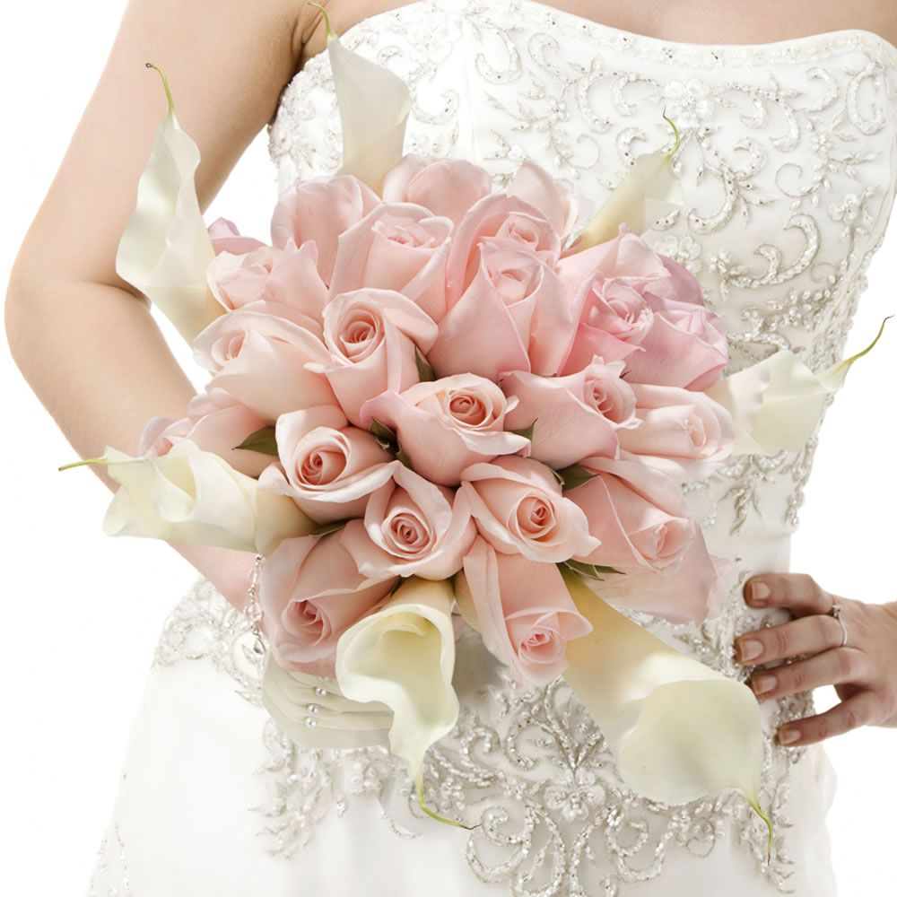 Beautiful bridal bouquet with light pink roses and white ...