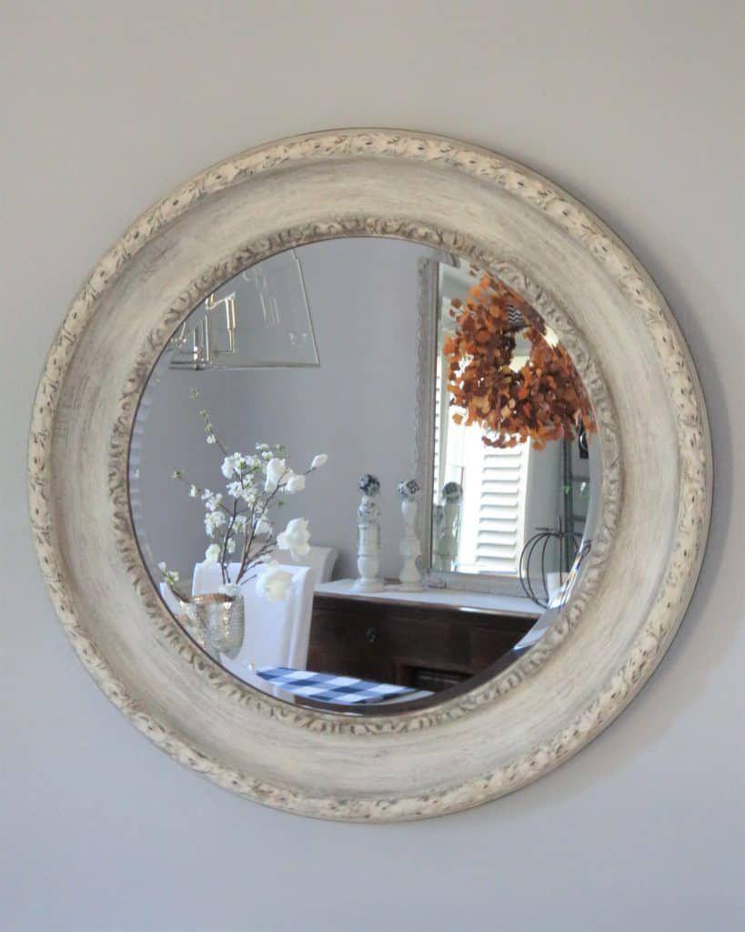 Distressed Hand Painted White Round Mirror Diy In 2020 Diy Mirror Mirror Painting Round Mirrors