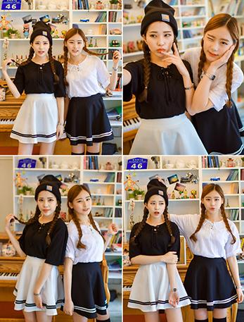 Lovely students navy skirt - Thumbnail 3