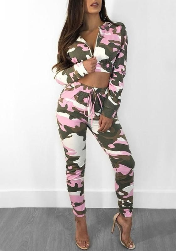 22af8a82a3df Purple Camouflage Print Drawstring Zipper Two Piece Hooded Casual Party Long  Jumpsuit