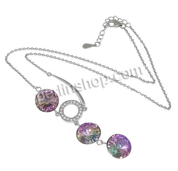 Sterling Silber Halsketten, CRYSTALLIZED™, mit 925 Sterling Silber, mit Verlängerungskettchen von 1.5lnch, flache Runde, Oval-Kette & facett...