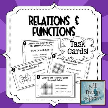 Relations, Functions, Domain and Range - Task Cards!