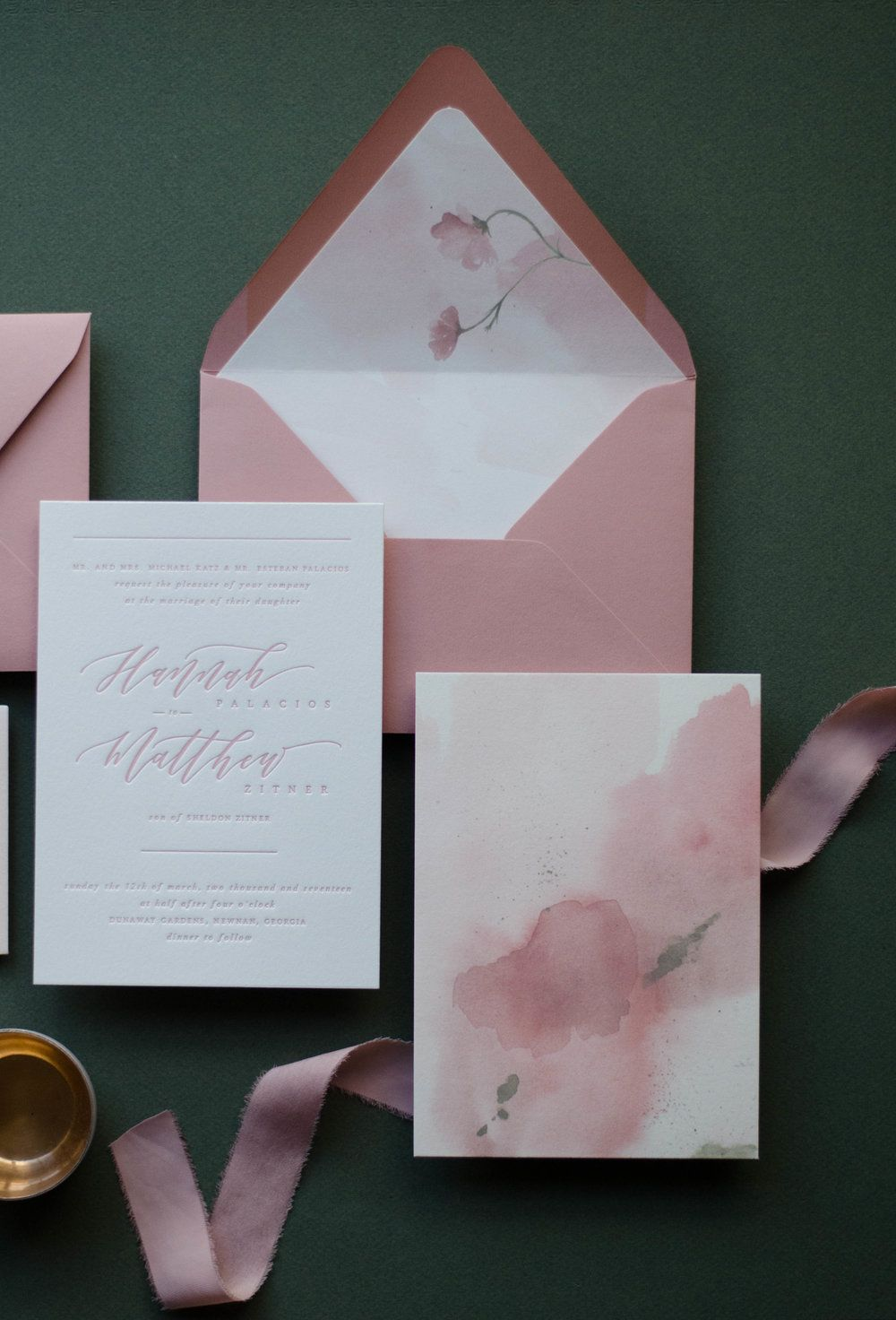 Dusty Rose Letterpress And Watercolor Invitation Wedding