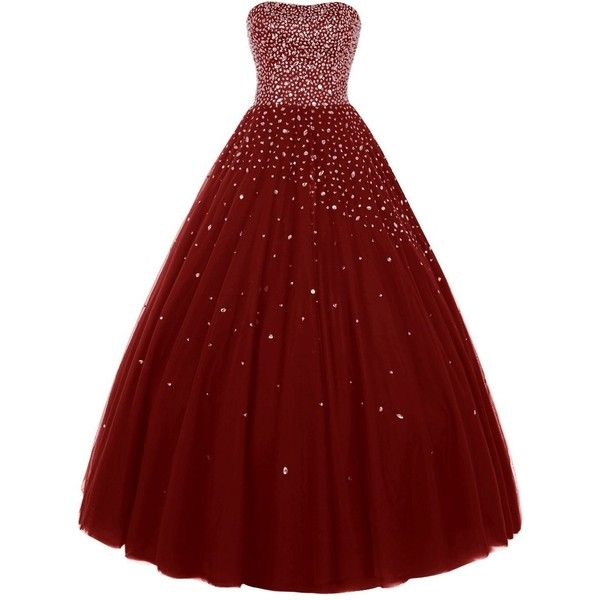 Wedtrend Women's Princess Ball Gown Party Dress Quinceanera Dress with... ($229) ❤ liked on Polyvore featuring dresses, red beaded dress, beaded dress and red dress