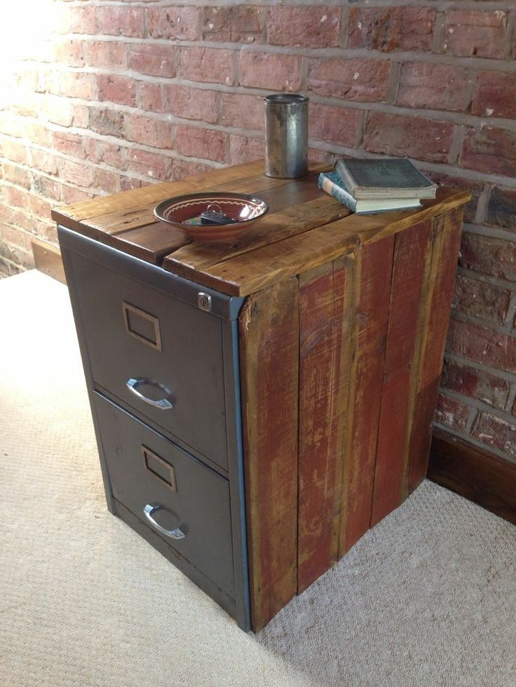Rough Luxe Vintage Metal Filing Cabinet Encased in reclaimed Wood - Vintage Industrial Chic Metal Filing Cabinet Encased In Reclaimed