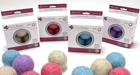LooHoo Wool Dryer Balls Bundle of 4 - Deluxe Starter 3-Pack