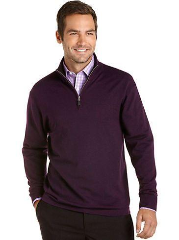 Sweaters & Vests - Pronto Uomo Purple Merino Half-Zip Sweater ...