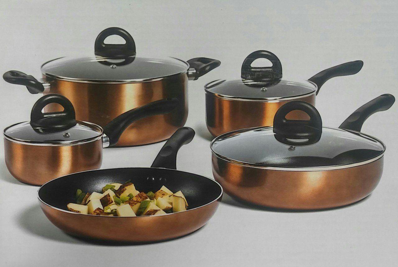 Philippe Richard 9 Pc Non Stick Aluminum Cookware Set Copper