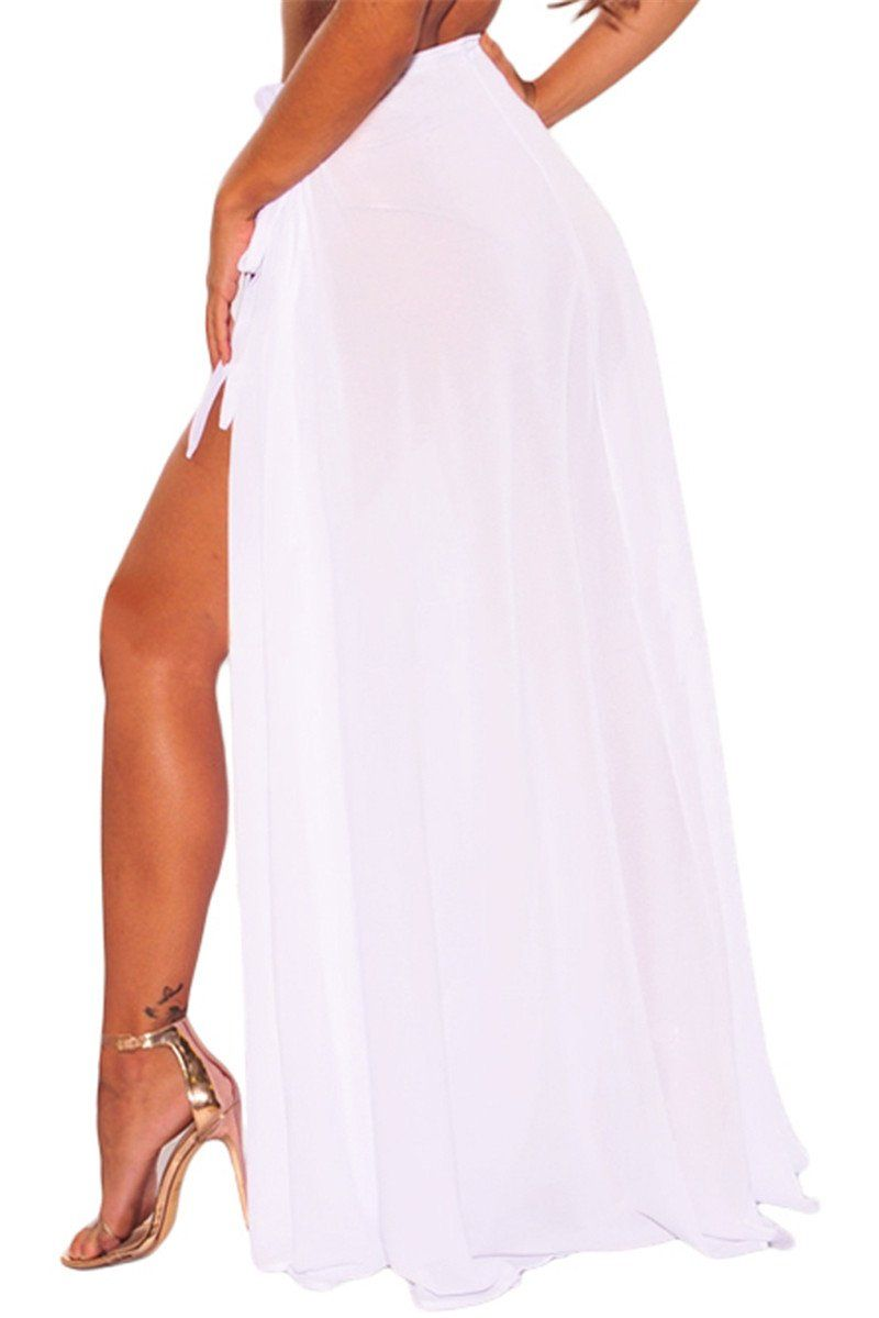 c823d72f6e Sheer Wrap Maxi High Slit Skirt | FADDI BOTTOMS | Beach maxi skirt ...