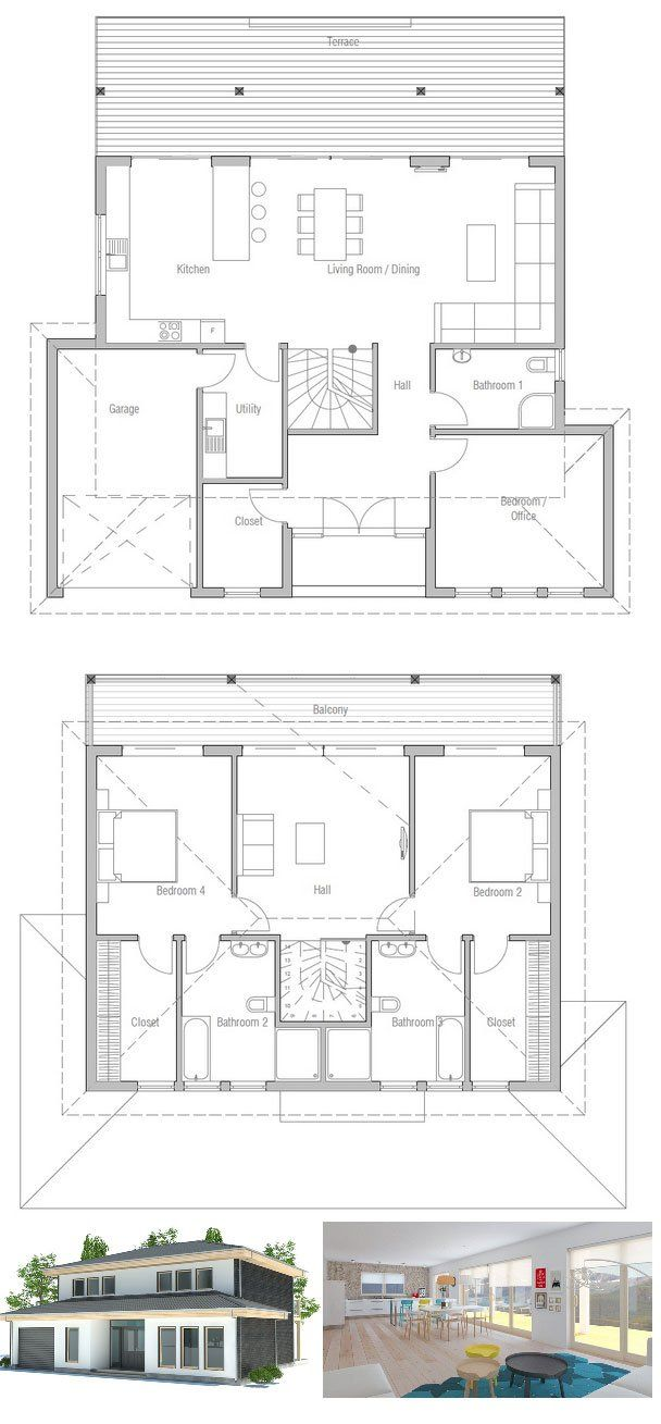 Modern small house plan with full wall height windows and abundance of natural light three bedrooms and two living areas floor plan