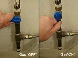 Describes How To Turn A Gas Valve On And Off Such As When Disconnecting Or Installing Dryer Stove
