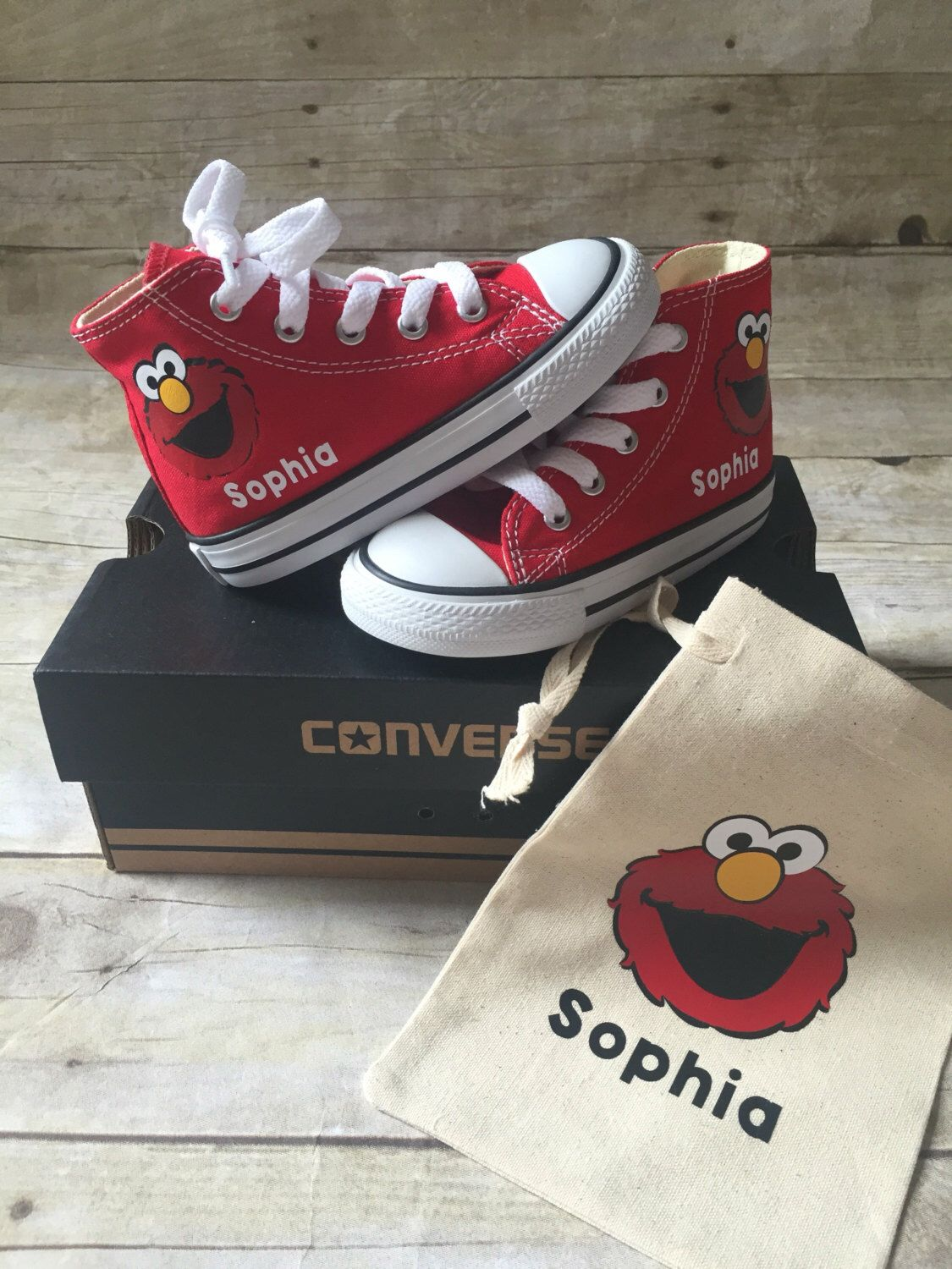 072e8a6edf64 Elmo Shoes - personalized chuck taylors - customized converse - Sesame  Street - Birthday swag by